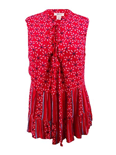 (Style & Co. Womens Lace-Up Sleeveless Blouse Red 3X)
