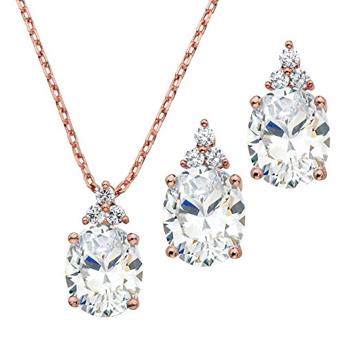 - Palm Beach Jewelry Rose Gold-Plated Oval Cut Cubic Zirconia Pendant Earrings 2-Piece Set, 18