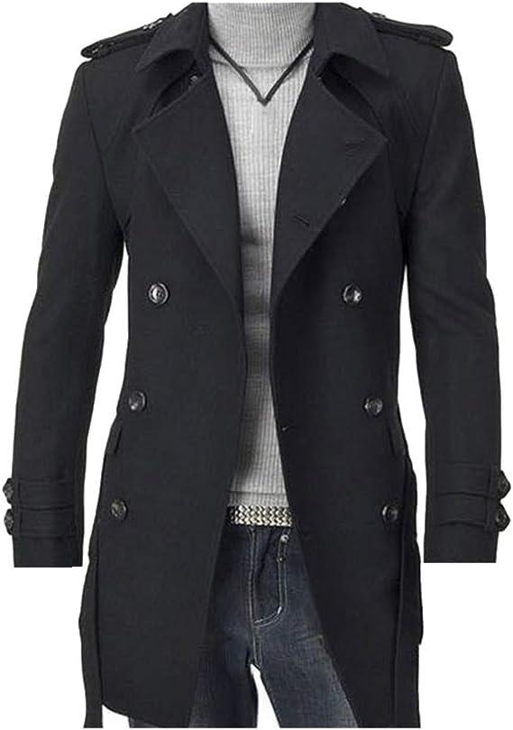 NVUNDG Men's Jackets, Double Platoon Buckle Men Long Coat with Belt Double  Breasted Trench Coat at Amazon Men's Clothing store