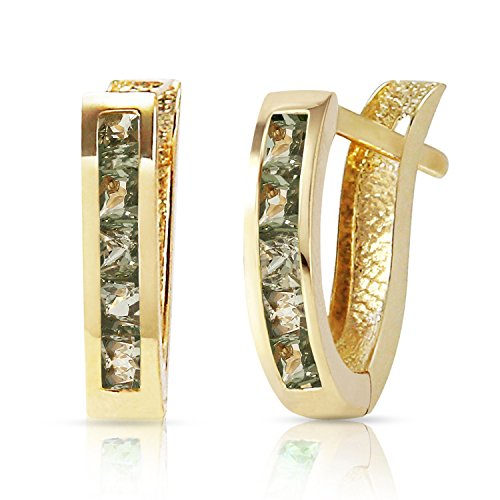 Green Natural Sapphire (14k Yellow Gold Huggie Earrings with Natural Green Sapphires)