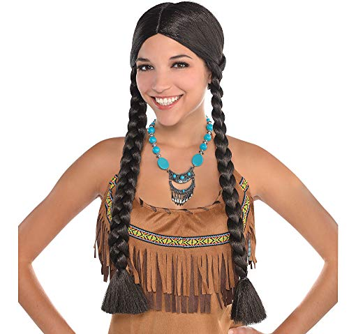 AMSCAN Native American Braids Wig Halloween Costume Accessories, Black, One Size