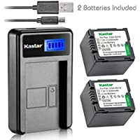 Kastar Battery (X2) & LCD USB Charger for Panasonic CGA-DU14 and NV-GS40 GS44 GS47 GS50 GS55 GS58 PV-GS150 GS200 GS300 GS320 GS400 GS500 SDR-H250 H280 VDR-D258 D300 D308 D310 D400 M74 M75 M95 M250