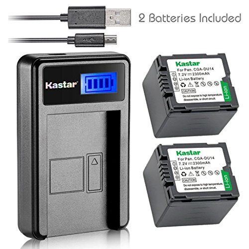 Kastar Battery (X2) & LCD USB Charger for Panasonic CGA-DU14 and NV-GS40 GS44 GS47 GS50 GS55 GS58 PV-GS150 GS200 GS300 GS320 GS400 GS500 SDR-H250 H280 VDR-D258 D300 D308 D310 D400 - Camcorder Nv Gs330