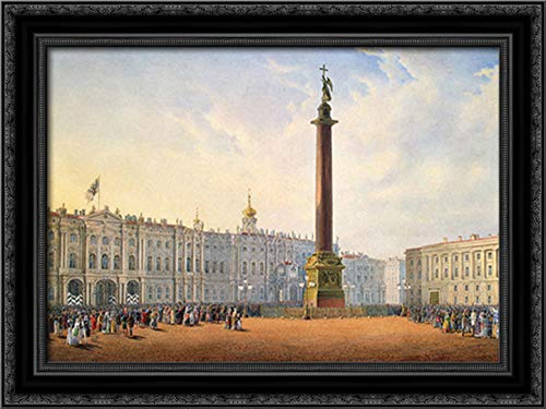 View of Palace Square and Winter Palace in St. Petersburg 24x18 Black Ornate Wood Framed Canvas Art by Vasily Sadovnikov (St Petersburg Galleria)