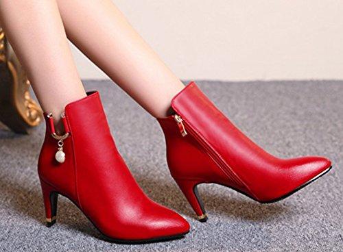 Aisun Kvinna Elegant Stilett Mid Häl Boots Röd