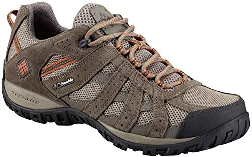 Columbia Men's Redmond Waterproof Hiking Shoe, Pebble, Dark Ginger, 12 D US