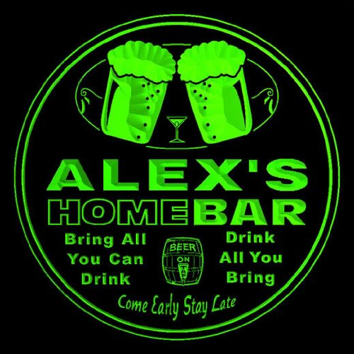 4x ccp0155-g ALEX'S Name Home Bar Beer Drink 3D Engraved Coasters