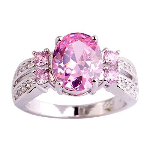 Narica Womens Brilliant 10x8mm Pink Topaz Gemstone Band Ring