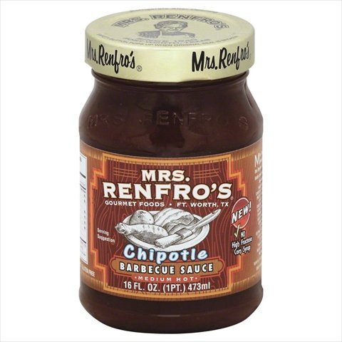 Mrs Renfros Medium Hot Chipotle Barbecue Sauce, 16 Fluid Ounce - 6 per case.