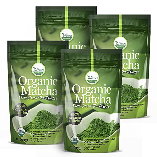 4 Pack uVernal WellBeing Organic Matcha Green Tea Powder - 100% Pure Matcha (No Sugar Added - Unsweetened Pure Green Tea - No Coloring Added Like Others) 4 oz by uVernal WellBeing
