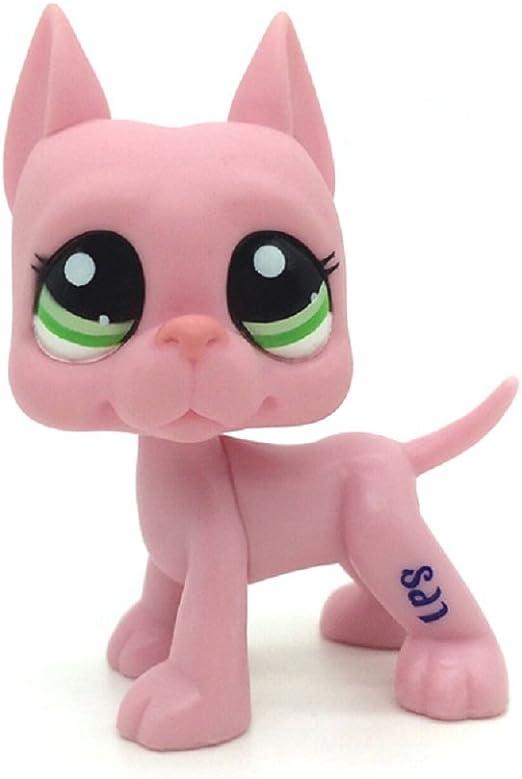 Toys Games Littlest Pet Shop Great Dane Dog Puppy Strawberry Mauve Pink Green Eyes Lps Com