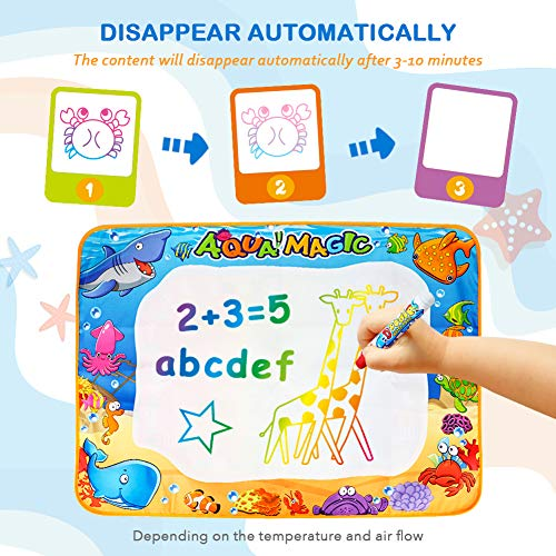 Toyk Aqua Magic Mat - Kids Painting Writing Doodle Board Toy - Color Doodle Drawing Mat Bring Magic Pens Educational Toys for 1 2 3 4 5 6 7 8 9 10 11 12 Year Old Girls Boys Age Toddler Gift