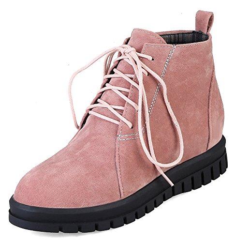 Idifu Kvinna Hållbara Snörning Rund Tå Låg Kilklack Kort Boots Rosa