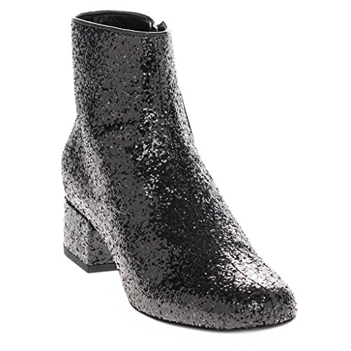Saint Laurent Women's Glitter Almond-Toe Ankle Boots w/ Short Block Heel Leather Black EU 39 (US 9) (Yves St Laurent Shoes)