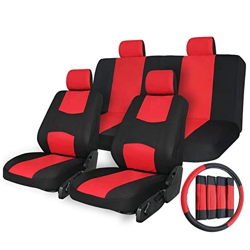 Copap Universal Car Seat Covers Flat Cloth Mesh 17pcs Seat Covers for Auto Universal Fit Front Airbag Compatible Black/Red Strip Free Steering Wheel Cover