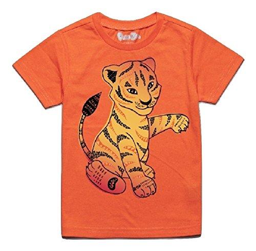 Peek-A-Zoo Toddler Short Sleeve Tshirt - Tiger Orange - 4T