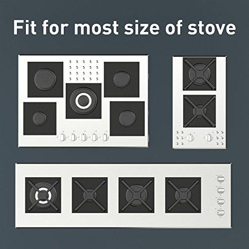 "UNEEDE 6 Pack Stove Burner Covers Liners,Non-Stick Reusable Gas Hob Range Protectors, 10.6""x 10.6"", Black"