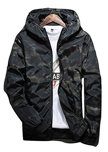 [オチビ] ウィンドブレーカー メンズ フード付き カモフラ 迷彩 柄 ジャンパー ジャケット サイクル 登山 雨具 カッパ