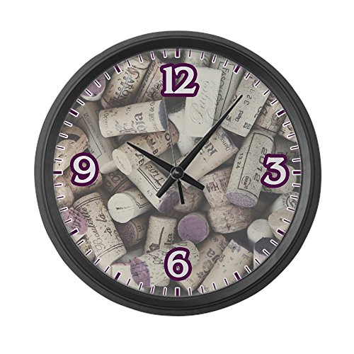 Large Wall Clock I love Wine Corks - fun unique kitchen wall clocks