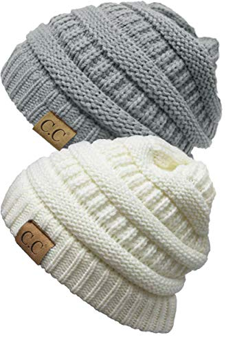 7dc349d06fd Funky Junque CC Solid Ribbed Beanie – Soft Stretch Cable Knit - Warm Skull  Cap