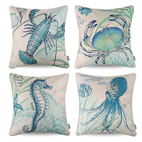 ONWAY Coastal Decor Nautical Theme Throw Pillow Covers 18x18 Sea Decorative Pillowcase for Home Couch and Patio, Set of 4