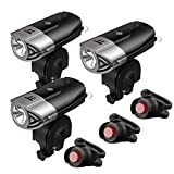 Cheap 3 Set of LED Bike Light, TaoTronics Bicycle Light, 700 Lumes Powerful Bike Headlight, USB Rechargeable, IP65 Waterproof, Versatile Usage Flashlight, Bike Front Light