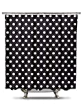 Shower Curtain HQ - Black and White Polka Dot Shower Curtain, 70in X 78in 100% Polyester - Mildew and Wrinkle Resistant, Bold Classic Pattern