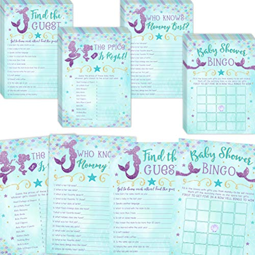 Mermaid Baby Shower Games, Bingo, Find The Guest, The Price Is Right, Who Knows Mommy Best, 25 games each -