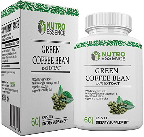 Green Coffee Bean Extract 100% Pure Extracts Capsules with 45% Chlorogenic acid - Effective Supplement for Weight Loss, Antioxidants, Fat Burner and Appetite Suppressant for Men & Women by Nutro Essence