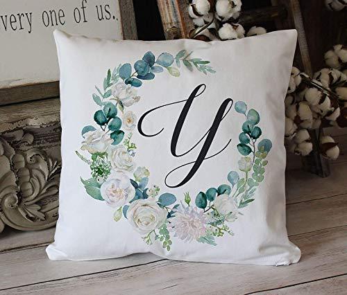 Monogrammed eucalyptus wreath farmhouse style pillow