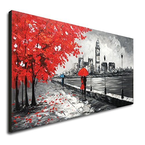 (Everlands Art Red Umbrella People Canvas Wall Art Hand Painted Oil Painting Landscape Decor Romantic Couple London Modern Artwork Framed and Stretched 48x24 inch)