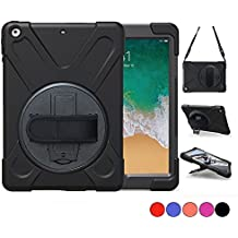 New iPad 9.7 2018 2017 Case, TSQ iPad 5th 6th Generation Case, Rugged Protective Case with Shoulder Strap, Hand Grip & Stand, Heavy Duty Apple Tablet Cover For Kids iPad 9.7 Inch A1822 A1823 (Black)