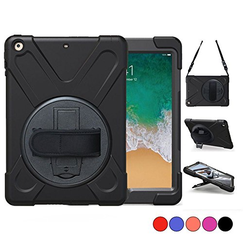 New iPad 5th/6th Generation, iPad 9.7 2018/2017 Case, Carrying Protective Amor Cover With 360 Degree Stand, Handle Hand Grip,Shoulder Strap For Kids Apple 9.7 Tablet Skin A1893/A1954/A1822/A1823 Black by TSQ