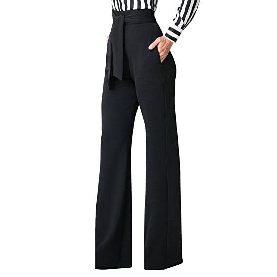 bc7e0546167fd6 GUOLEZEEV Womens High Waisted Long Palazzo Pants Wide Leg Trousers with  Waist Belt at Amazon Women's Clothing store: