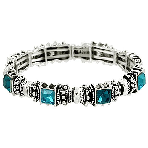 Falari Vintage Acrylic Crystal Antique Silver Stretch Bracelet Teal & Turquoise B0002-01