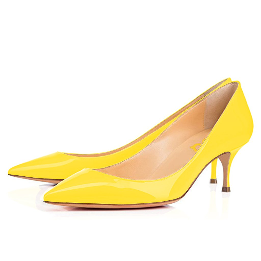 FSJ Mid Women's Mid FSJ High Kitten Heels Floral Print Shoes Pointy Toe Pumps Size 4-15 B06Y29FLHZ 6 M US Yellow 151a43