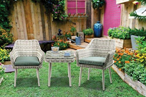 Major-Q 3Pc Patio Bistro Set in Green Fabric and Beige Wicker with 2 Arm Chairs and Side Table