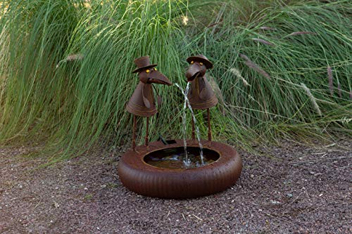 (Alpine Corporation NCY356 Rustic Crow Birds with Hats Fountain, 16 Inch Tall, Brown)