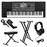 : Korg PA600 Professional Arranger Keyboard with Knox Keyboard Bench, Knox Keyboard Stand Full-Sized Headphones and Universal Sustain Pedal