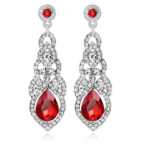 YINLI Austrian Crystal Rhinestone Bridal Wedding Dangle Earrings for Women Fashion Jewelry (Style 07)