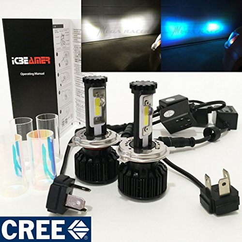 - Mega Racer Motorcycle H4 9003 HB2 CREE COB LED 6K White 10K Blue LED Kit Headlight High/Low Beam Xenon Lamp Light Hi/Lo Bulb