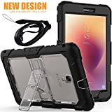 Samsung Galaxy Tab A 8.0 (2017) Protective Case with Stand and Removable Shoulder Strap, Ziaon Three Layer Rugged Shock Drop Proof Full Body Silicone Case with Kickstand for Samsung Galaxy Tab A 8.0 SM-T380 / SM-T385 - Black + Clear