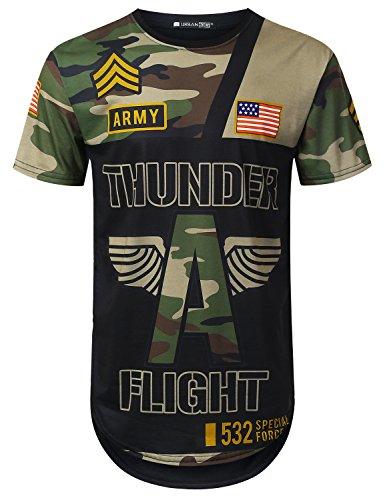 URBANCREWS Mens Hipster Hip Hop Thunder Camouflage Longline T-Shirt Black, XXL