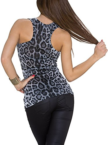 Tank Top mit Leoparden Muster, Snow