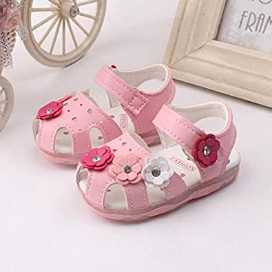 Asian Size Infant Baby Girls Closed-Toe Summer Solid Flower Outdoor Sport Casual Sandals