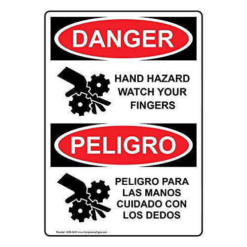 Danger Hand Hazard Watch Your Fingers English + Spanish OSHA Safety Label Decal, 5x3.5 in. Vinyl 4-Pack by ComplianceSigns
