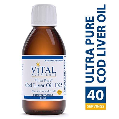 Vital Nutrients - Ultra Pure Cod Liver Oil 1025 (Pharmaceutical Grade) - 100% Pure Norwegian Cod Liver Oil - 200 ml