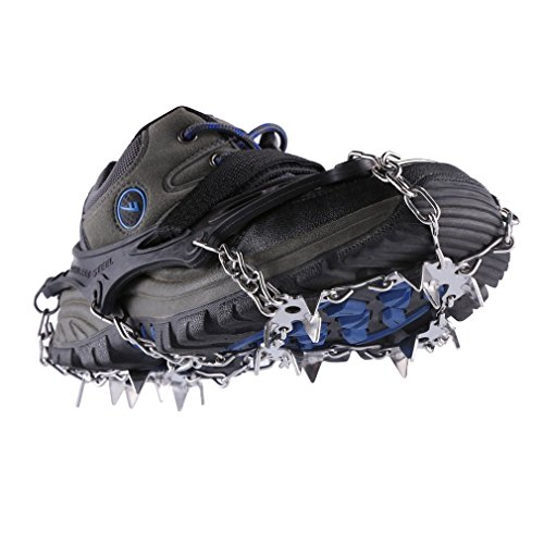 YKS 19 Teeth Anti-Slip Mini Spikes Footwear Traction Cleats Grips Crampon for Snow and Ice Safe Protect(Black)