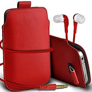 Direct-2-Your-Door - Sony Xperia E1 premium protección PU Tire de la cubierta del caso Tab bolsa deslizamiento del cordón en el bolsillo y Coincidencia 3.5MM Auriculares Auriculares Auriculares - Rojo