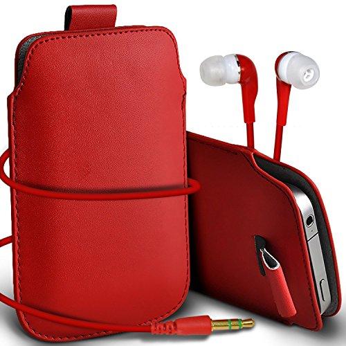 N4U Online - Apple Iphone 5C Prime de protection PU cuir Pull Tab cordon glisser la peau Pouch Pocket Housse & Matching casque 3,5 mm écouteurs écouteurs - Rouge